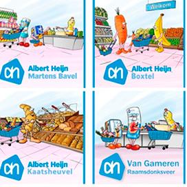 Cartoontassen bij de boodschappen