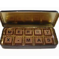 Kerstgroeten van chocolade