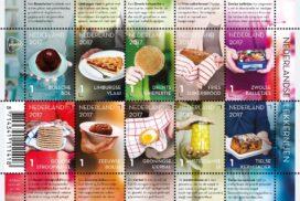 Postzegels met producten uit de ambachtelijke bakkerij