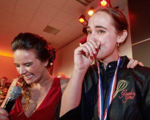 Tranen van ongeloof in de ogen van winnares Lisa. Foto: John Voermans