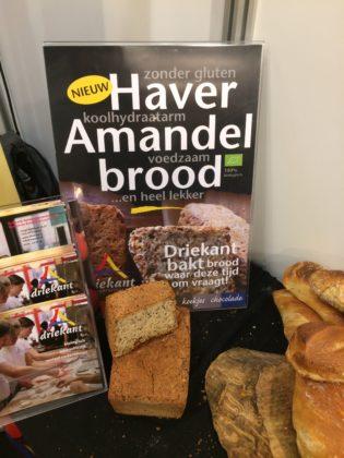 Driekant uit Zutphen legt op de Biobeurs de focus op glutenarm haveramandelbrood. Let wel: dit is dus niet glutenvrij, maar glutenarm, voor de consument die daaraan hecht. De coeliakipatiënt mag dit niet eten.